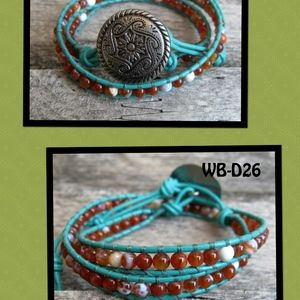 WB-D26 double beaded wrap bracelet